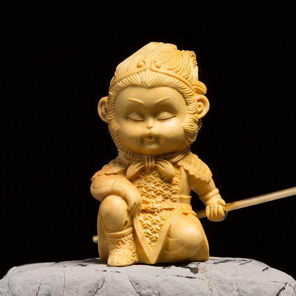 Chinese dolls MONKEY KING figurines Wood statue Sun Wukong gift carved decor fairy Figurine Wooden Mythology figure Miniature