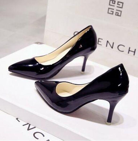 Yüksek topuklu ayakkabılar kadın yeni sığ ağız stiletto tek ayakkabılar vahşi öğrenci kız profesyonel elbise yüksek hee Kore versiyonu işaret