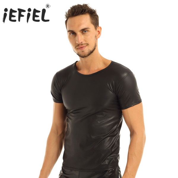 tight shirts men iEFiEL Sexy Tops for Mens Faux Leather Short Sleeve T-shirts Tops Sex Gay Men Undershirts Clubwear Costumes Party Clothing