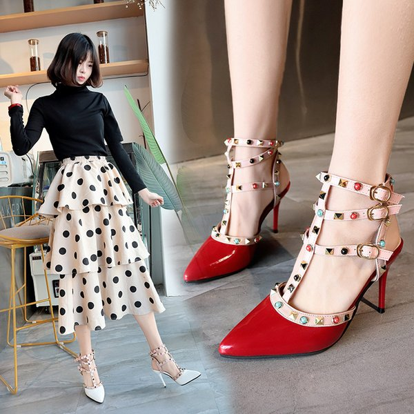 Designer Women High Heels Party Fashion Rivets Girls Sexy Pointed Shoes Dance Shoes Wedding Shoes Double Straps Sandals The High Quality