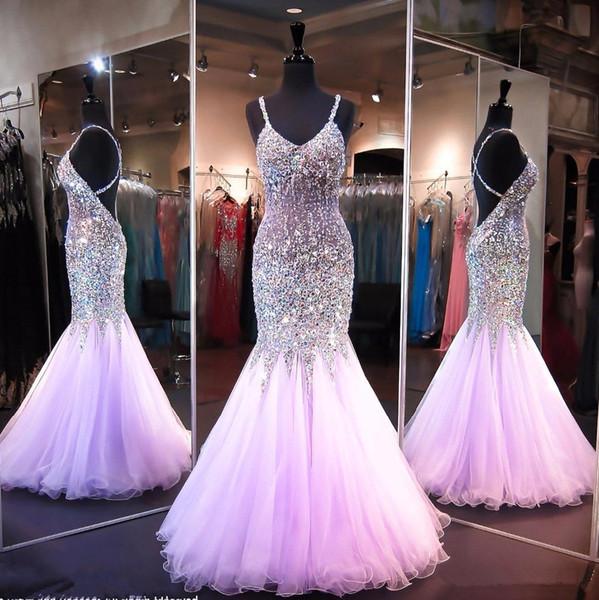Mais recente Luz Roxo Sereia Longo Vestidos de Baile Frisada Cristal Longo Pageant Vestidos Criss Cruz de Volta Vestidos de Baile de Formatura