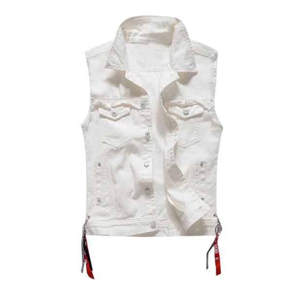 Men's New Fashion Denim Vest Casual Cowboy Jacket In Shoulder Blouse #4U07
