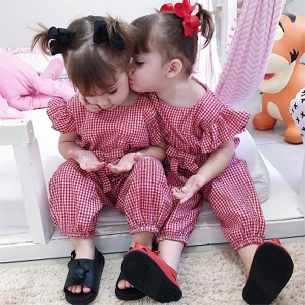 Baby Rompers Suit Summer Infant Jumpsuit Romper Onesies cotton flare sleeve babies clothes girl bow plaid red black full sizes in stock New