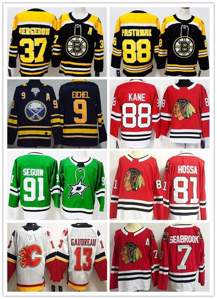 Camisetas de hockey de hombres al por mayor baratos # 37 # 81 # 7 # 91 88 David Pastrnak 88 Patrick Kane 9 Jack Eichel 13 Johnny Gaudreau