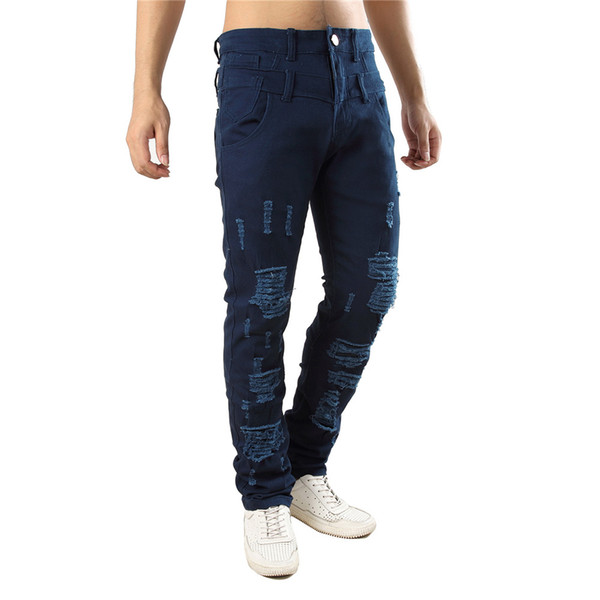 Elegant Casual Jeans Fitness Harajuku Men Pant Hollow Out Sexy Party Trousers Plus Size Fashion Streetwear 2019 Mens Cool Jeans