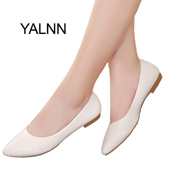 YALNN 2019 New Women Shoes Flat Leather Platform Heels Shoes White Women Pointed Toe Leather Girl Flats Shoes LY191129
