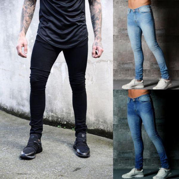 Hirigin Erkek Skinny Biker Jeans Tahrip Yıpranmış Slim Fit Denim Kalem Pantolon Kot 2018 Korku Dod Of Moda Streetwear Ripped