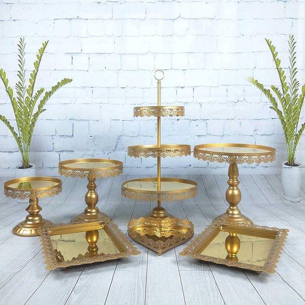 7 Pçs / set Gold Pink Silver White Sobremesa De Metal 3 Camadas Cupcake De Casamento Espelho de Cristal Bolo Suporte