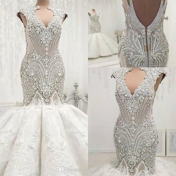 best selling Vintage Luxury Beading Crystals Mermaid Wedding Dresses Sexy Hollow Out Backless Sleeveless Appliques Ruched Long Bride Gowns