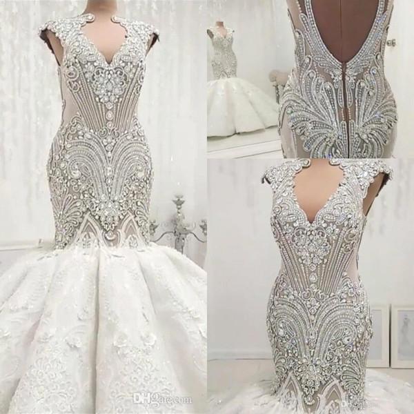 Cristais Beading Luxury Vintage Vestidos de noiva sereia Sexy oco Out Backless mangas apliques Vestidos Ruched longos Noiva