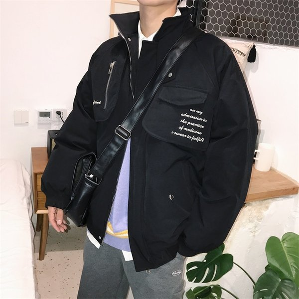 2018 Hot Sale Autumn And Winter Korean Style Loose Ulzzang Jacket Jacket Letter Embroidery Collar Cotton Coat Black / Gray M-2XL