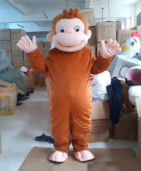 2019 Hot new Curious George Monkey Mascot Costumes Disfraces de dibujos animados Disfraz de fiesta de Halloween Tamaño adulto