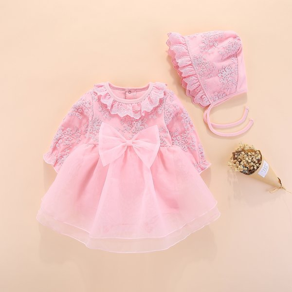 29633bf31452c Long Sleeve Baby Girls Dress Princess And Wedding Baptism Kids Dresses  Newborn Baby Girl Clothes Pink