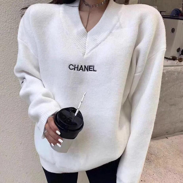 top popular 2020 New Designer Women's Wear, Ladies Loose Sweater, Brand Fashion Sweater Embroidery Loose Pullover, Fashion Long Sleeve Free Shipping 2020
