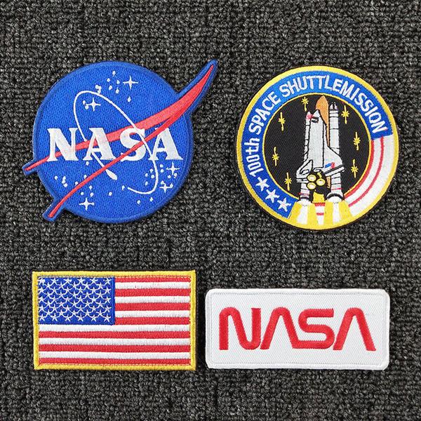 Moda tattici patch Armband Distintivo magia nastro della bandiera americana NASA logo ricamato autoadesivi magici del nastro Patch