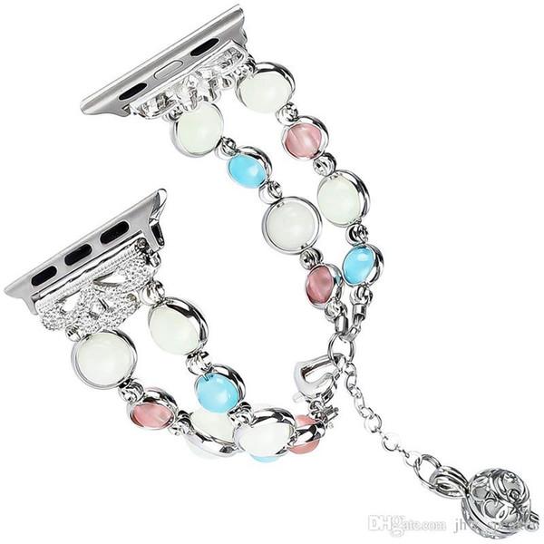 Mode Bijoux Lumineux Personnalité Femme Bracelet De Montre En Acier Inoxydable Bracelet Pour Apple Watch Bande Série 4 3 2 1 38MM 42MM 40MM 44MM