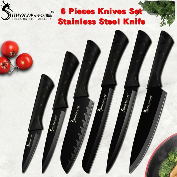 Juego de cuchillos de cocina de acero inoxidable negro Sowoll Fashion Germany Steel Cuchilla de cocina ultra afilada Cuchillos de cocina 7Cr17 6 PCS