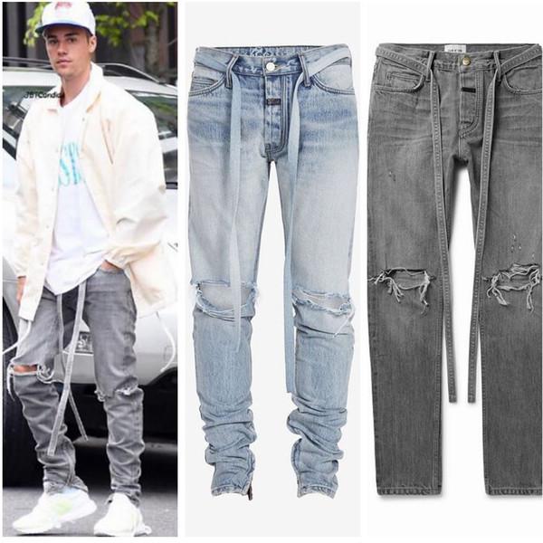 Justin Bieber Mens Sıkıntılı Ripped Biker Jeans KANYE Batı Marka Tasarımcısı Mavi Rock Yıldızı Erkekler Tulum Denim Erkek Pantolon Hip Hop Streetwear