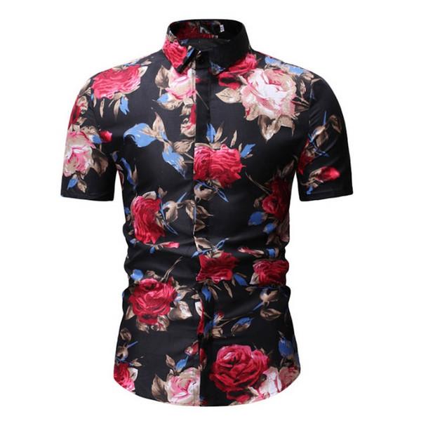 M-3XL New Summer Fashion Mens Shirt Slim Fit Short Sleeve Floral Shirt Mens Clothing Trend Plus Size Casual Flower Shirts #388070