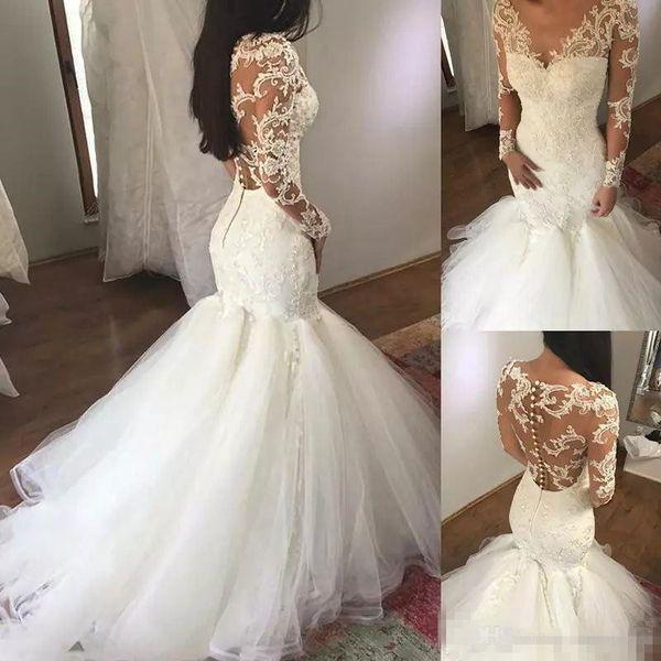 Sexy Illusion Back Mermaid Wedding Dresses V Neck Long Sleeves Lace Applique Sweep Train Trumpet Bridal Bech Wedding Gown vestido de novia