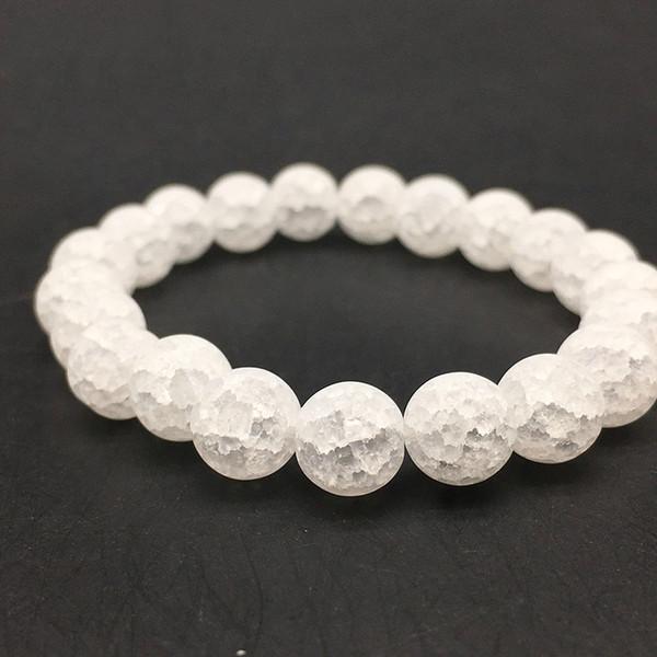 2019 Charm White White Cracked Crystal Bracelet Pulsera de piedra natural Yoga elástico para hombres mujeres joyería