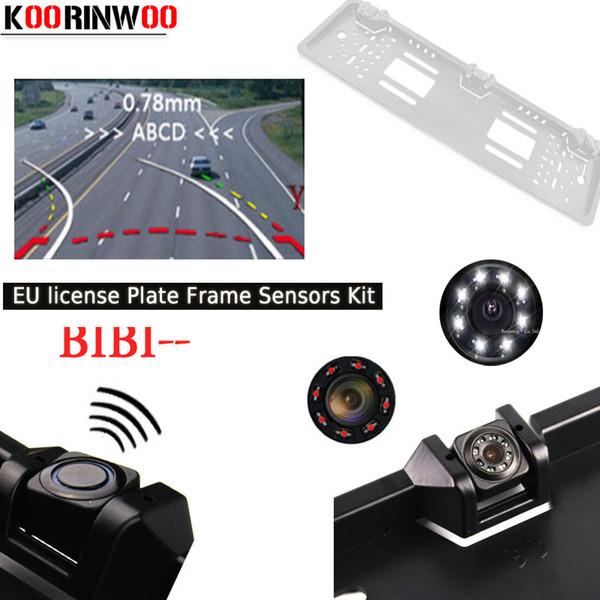 Koorinwoo 2,019 Europeia UE dinâmico Trajetória License Plate quadro Parktronic vista de carro câmera traseira 2 Sonda Alarm Sistema de Vídeo Rca