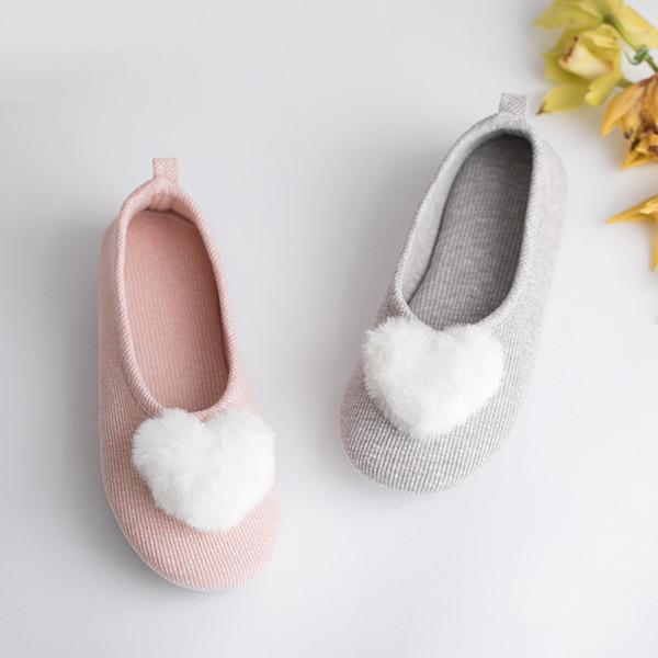 Spring Autumn Home Slippers Women Indoor Floor Shoes Soft Bottom Bedroom Slides Fur Hairball Non-slip Ladies Slippers