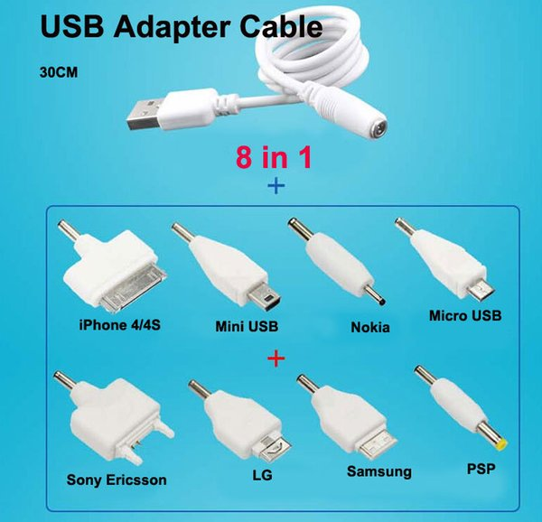 8 in 1 Universal USB Multi Cable Smart Adapter Charger Micro Mini USB Cable For mp3 mp4 nokia psp 4s LG camera games sound