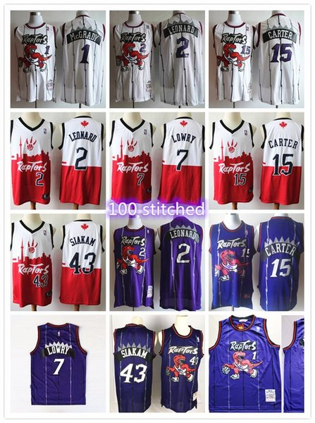 best selling Men's Torontoo Pascal 1 McGrady 43 Siakam Tracy Raptorr Vince 15 Carter Kawhi 2 Leonard Kyle 7 Lowry Fred basketball jerseys