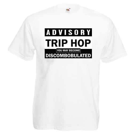 Gezi Hop Discombobulated Beyaz Unisex Tişört Müzik Danışma Tarzı Yuvarlak Stil tişört