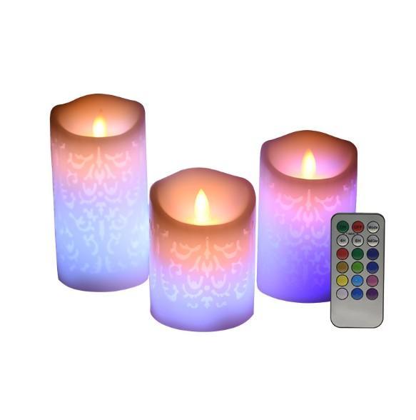 Candele LED a pendenza elettronica senza fiamma Candele notturne a cambiamento di colore Decorazione per la festa nuziale