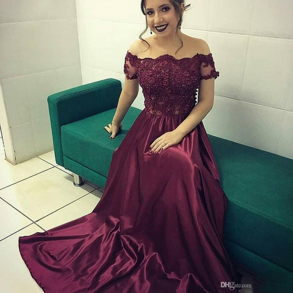 Off the Shoulder Burgundy Prom Dresses Long Evening Party Gown for Women Plus Size Formal Event Ballgown Appliques