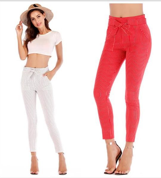 Gestreifte dehnbare elastische Haremshose mit hoher Taille Frauen Bowtie-Gurt-dünne lange Hosen-beiläufige Caprihose der Frauen mit Taschen