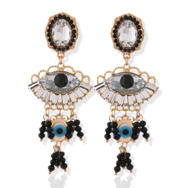 Brandjewelryyy latest popular glass bright color stone crystal zinc alloy big earrings ladies print ring orecchini earrings bijoux ladies la