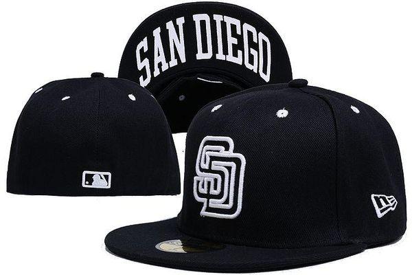 Приспособленные шляпы от солнца шляпа Сан-Диего шляпа SD кепка Команда Бейсбол Вышитые Team Flat Brim Шляпы Бейсболка Размер Бренды Спортивные Chapeu для мужчин, женщин