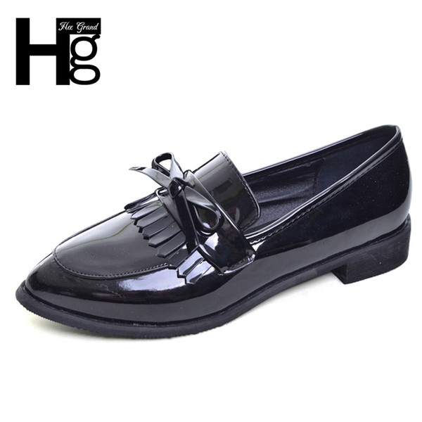 2019 HEE GRAND Bowtie Women Shoes Platform Brogue Shoes Woman Slip On Silver Oxfords Pointed Toes Fringe Woman Shoe XWD6589