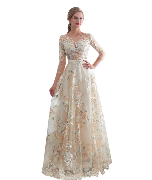Vintage Flower Lace Evening Dresses with 3/4 Sleeves A Line Floor Length Formal Prom Evening Gowns