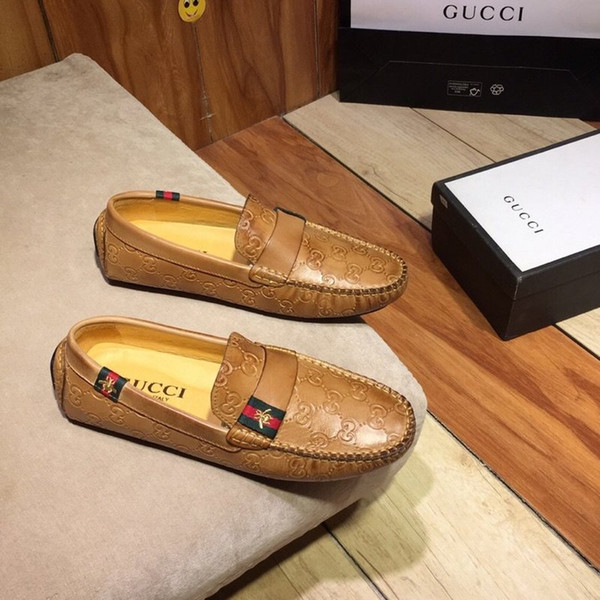 2019 Hommes Luxe G Ace Designers Robe Chaussures Noir Marron Suede Casual en cuir Mocassins Hommes Slip sur Chaussures Oxford Pointu avec la boîte