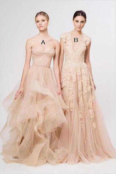 Vintage prom Dresses Cap Sleeve Lace 2019 New Champagne Ruffles Beach prom Gowns Deep V neck Reem Acra Bridal Gowns vestidos de novia