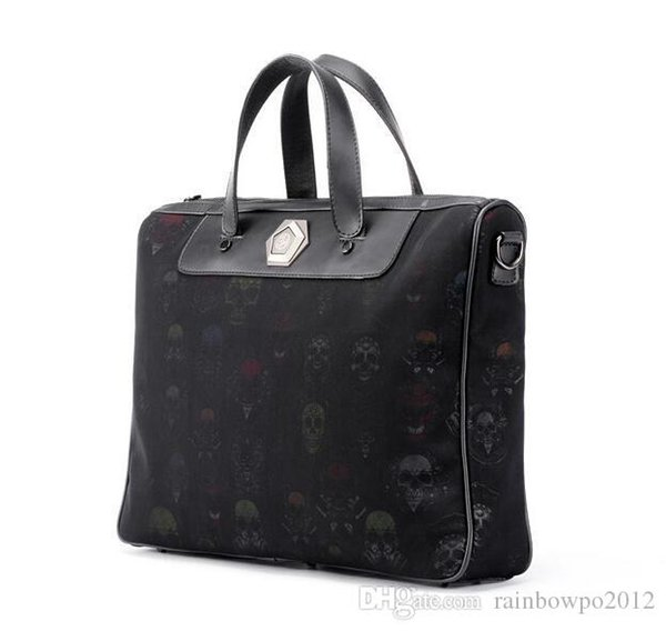 Factory Outlet Brand Men Bag Street Personality Ghost Head Pattern Men Handbag Fashion Print Leather Business Briefcase Leisure Leather File