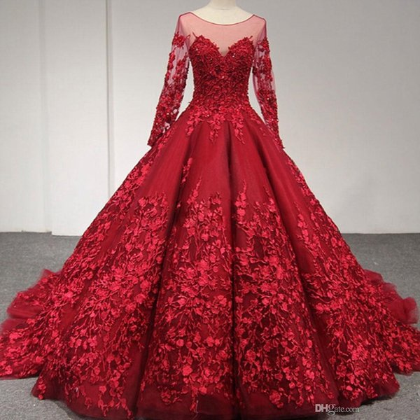 Amazing Lace Ball Gown Prom Dresses With Long Sleeve Sheer Bateau Neck Backless Evening Gown Tulle Court Train Appliqued vestido de novia