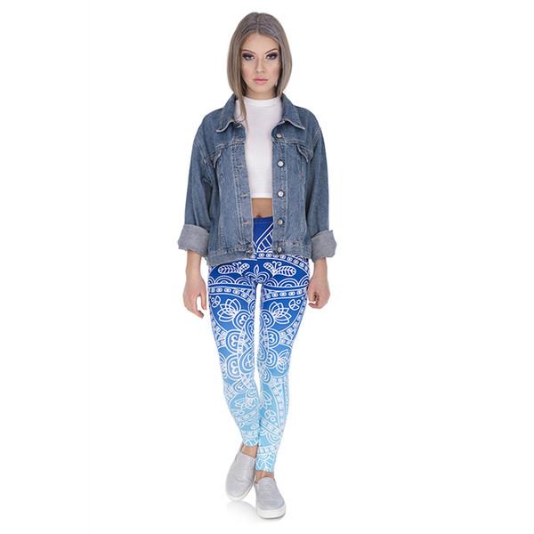 Lady Leggings Mandala Ombre Blue 3D Digital Full Printed Sports Yoga Wear Pants Girls Workout Pencil Fit Woman Full LengthTrousers (Y44544)
