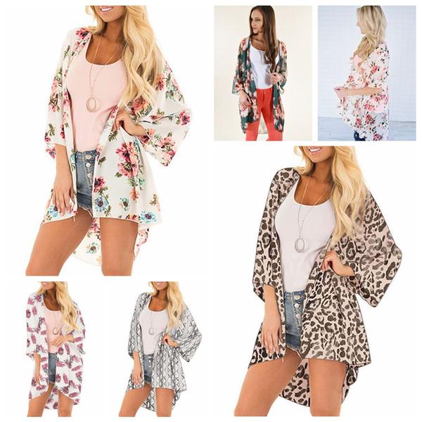 Femmes léopard en mousseline de soie plage couvrir été printemps floral imprimé kimono lâche casual lady batwing manches cardigan maillot de bain couverture cape AAA2261