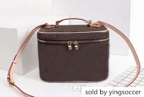 Kahverengi Çiçek Deri Kadın Paketi Kozmetik Kutusu Kadın Nicb Seyahat Yıkama Durumda M42265 Çapraz Vücut Omuz Çantaları
