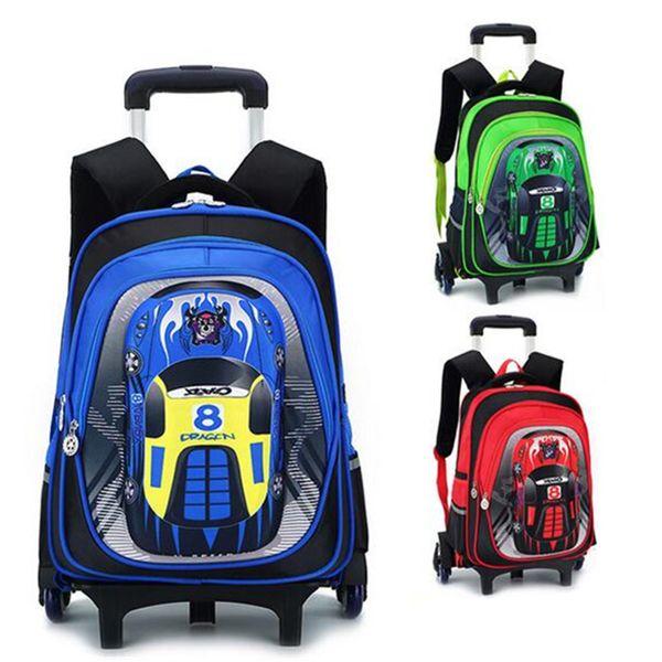 Racing Car Print Kids Trolley School Bag for Boys Girls 6 Wheeled Rolling Suitcase Luggage Children Schoolbag Rolling Backpack