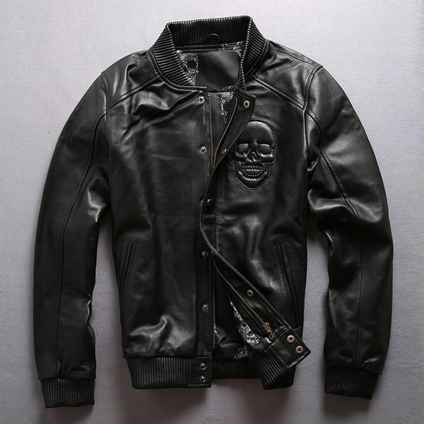 New Men's Sheepskin Jacket Vintage Brand Soft Genuine Leather Jacket Coats for Male Motorcycle Biker Large Size Black