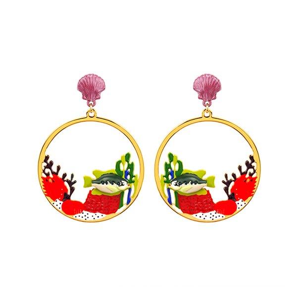 Juteux raisin rétro monde sous-marin corail poisson boucles d'oreilles pendentif boucles d'oreilles personnalité bijoux de mode
