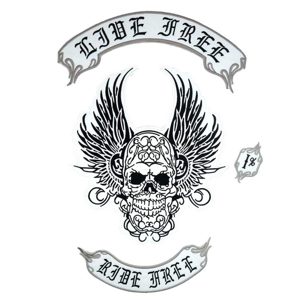 LIVE FREE RIDER FREE large punk embroidered iron on backing biker patch badge for jacket jeans 3 pieces /SET