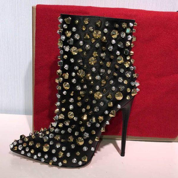 Lüks Tasarımcı Kadın Çizmeler Kırmızı alt Yüksek Topuk 10 CM Bayan Yarım Ayak Bileği Kısa Kış Kar Botları şövalye perçin Ayak Bileği Boot ile kutu