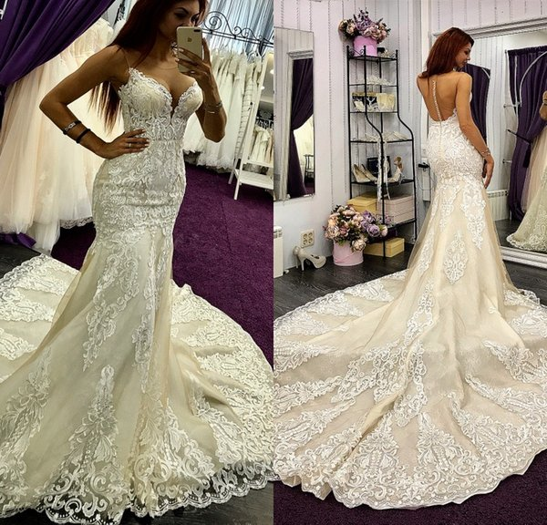 Luxury Lace Mermaid Wedding Dresses Strapless Court Train Bridal Gowns Full  Applique Plus Size Tiered Dress Wedding Dresses For Sale Wedding Gowns ...